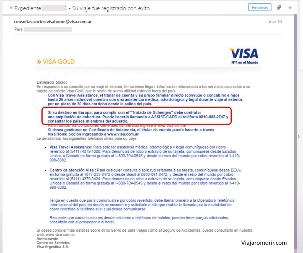 Asistencia al viajero Visa Gold
