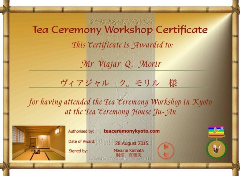Ceremonia del té en Japón - Tea Room Ju-An en Kyoto