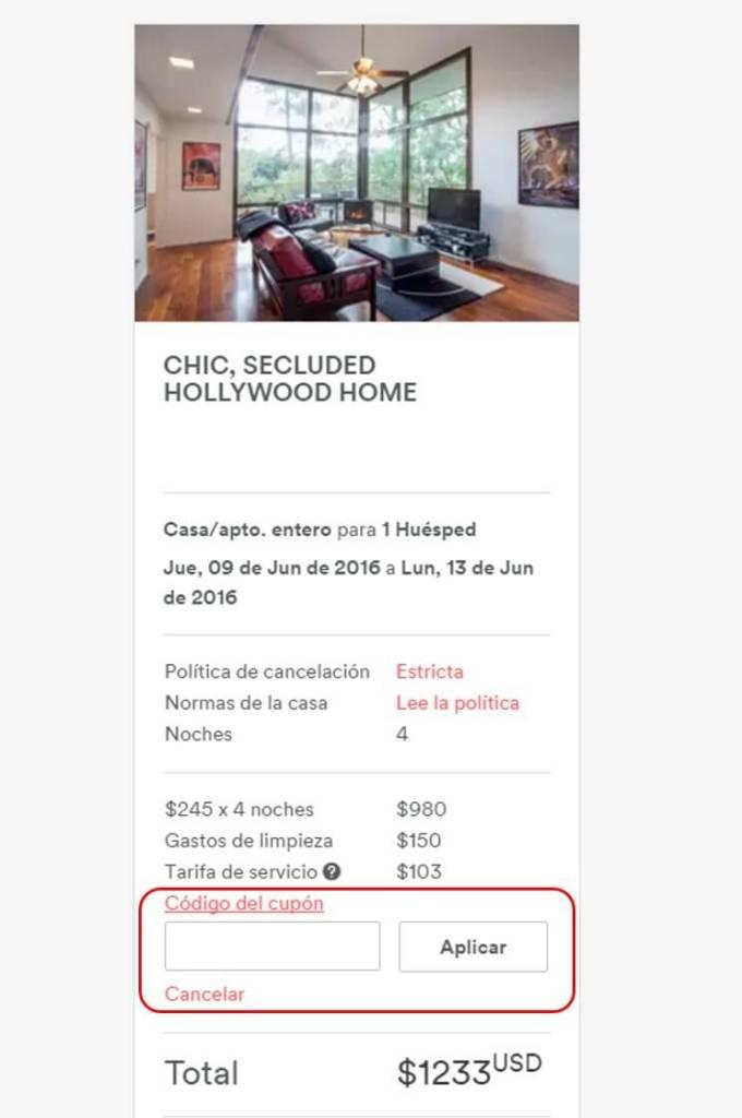 Cupón Airbnb de descuento