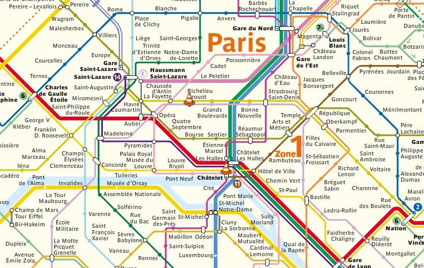 Exemplo de conexões entre linhas de RER e metrô
