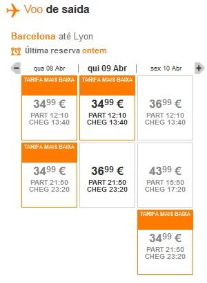 Opções de voos
