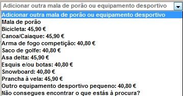 Preços de outras bagagens