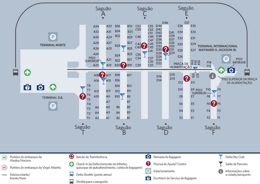 Mapa Aeroporto De Atlanta Fonte Https Pt Delta Com