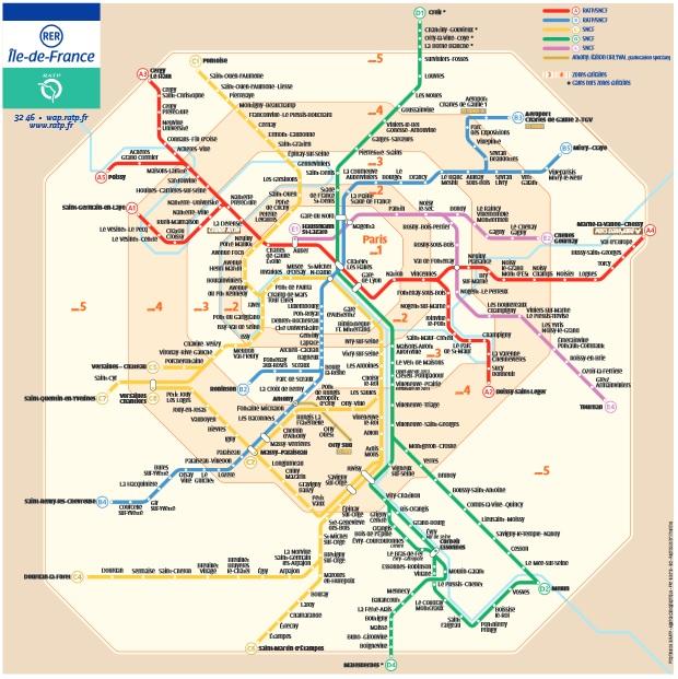 Mapa das linhas de RER