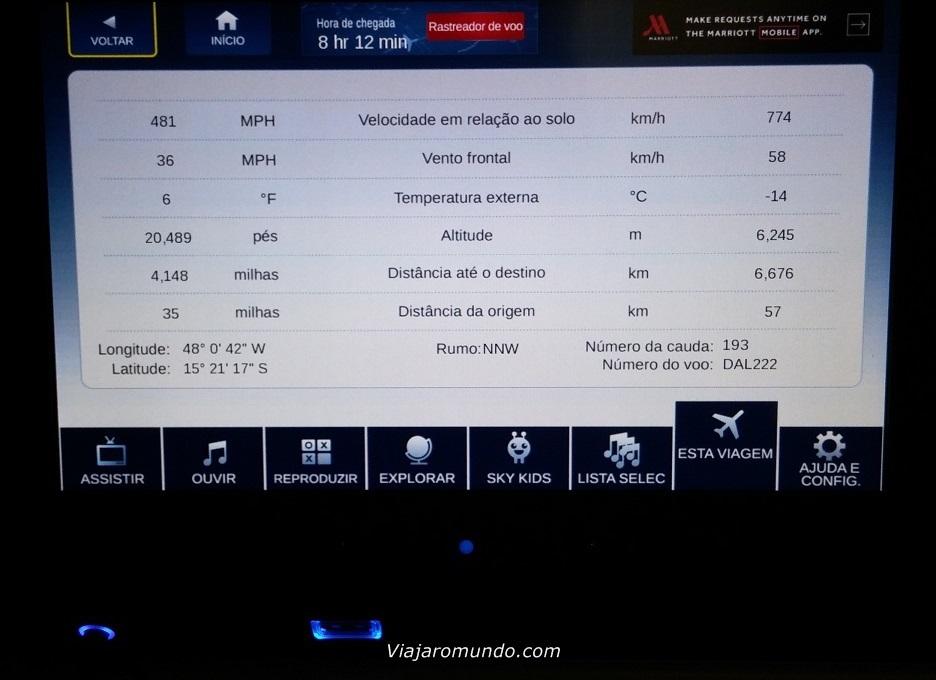 Informações sobre o voo