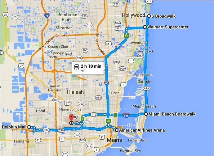 Percurso total (Google Maps) - 9 horas em Miami