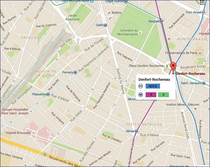 Linhas de metrô e RER (fonte: Google Maps)