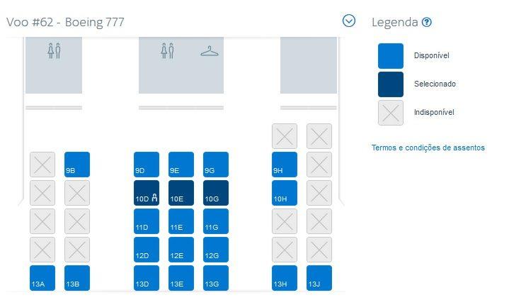 Mapa de assentos da Classe Executiva do Boeing 777 da AA