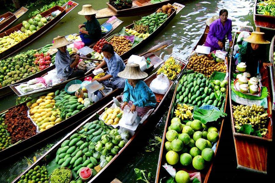 Mercado flutuante de Bangkok / Foto de divulgação: Teresa Perez Tours