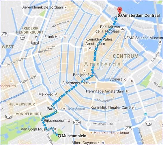 Caminhada da Museumplein até Amsterdam Centraal