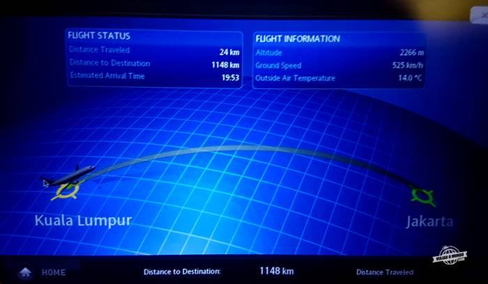 Sistema de entretenimento - Classe Econômica do 737 da Garuda Indonesia