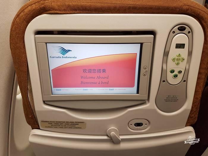 Sistema de entretenimento do A330 da Garuda Indonesia