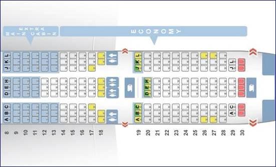 Main Cabin Extra e Classe Econnômica - 787 da AA