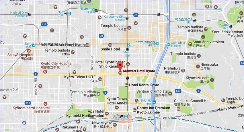 Localização Aranvert Hotel Kyoto (GoogleMaps)