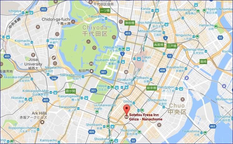 Localização do Sotetsu Fresa Inn Ginza (Google Maps)
