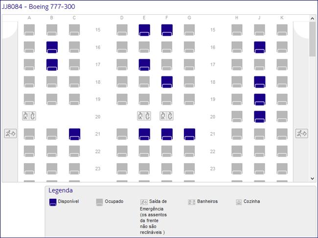 Mapa de assento da classe econômica - Boeing 777 da Latam (fonte: latam.com)