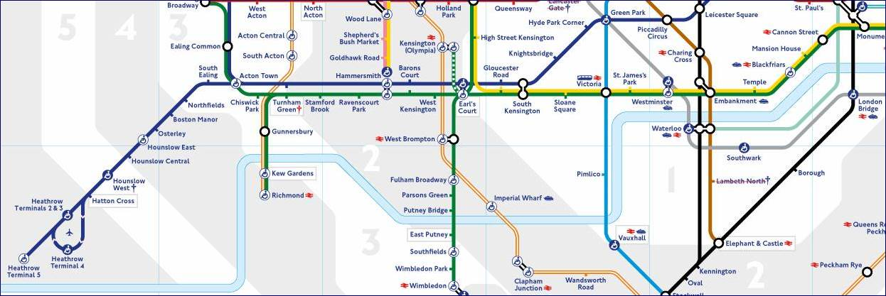 Mapa Piccadilly Line e Jubilee