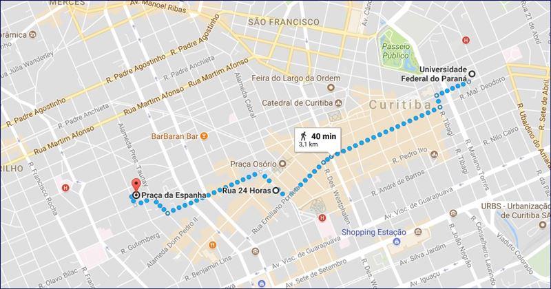 Universidade do Paraná - Praça da Espanha (fonte: Google Maps)