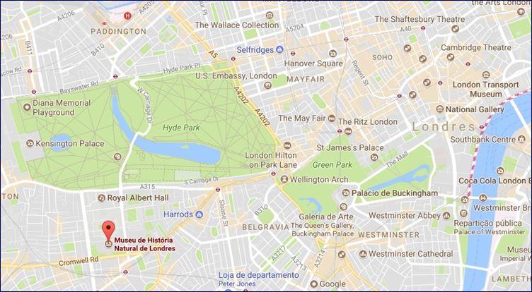Localização do Museu de História Natural (Google Maps)