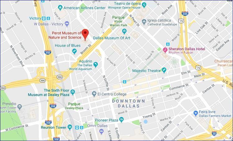 Localização do Perot Museum (fonte: Google Maps)