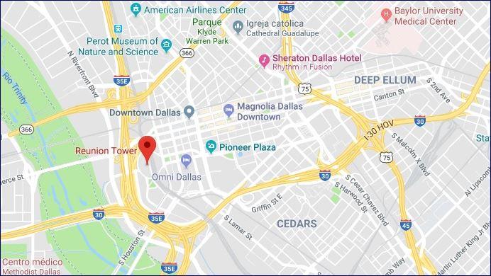 Localização da Reunion Tower (fonte: Google Maps)