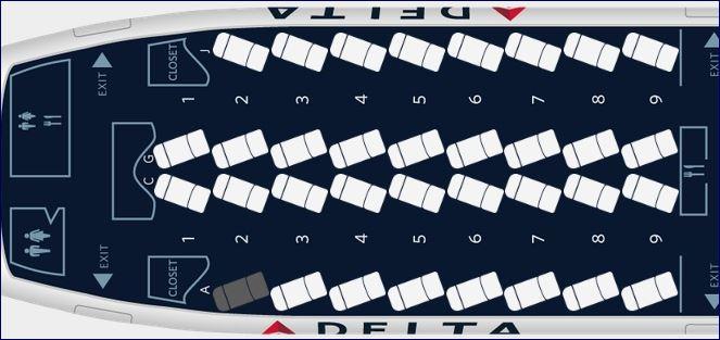 Mapa de Assento Classe Executiva Delta One do A330 (fonte: delta.com)