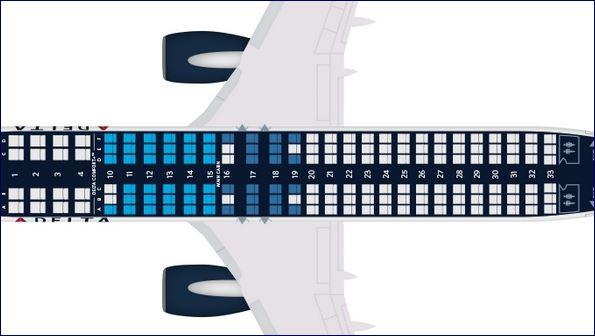 Mapa de assentos do Boeing 737-800 da Delta (fonte: delta.com)
