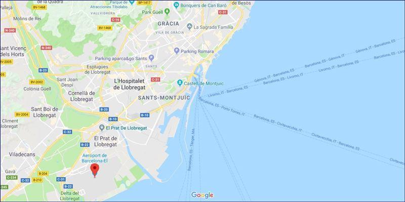 Localização do aeroporto El Prat (fonte: Google Maps). Como ir de trem do Aeroporto de Barcelona para a cidade