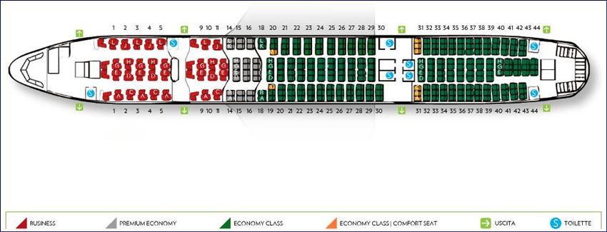 Mapa de assentos do Boeing 777-200 ER da Alitalia (fonte: alitalia.com)