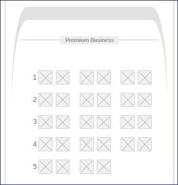 Mapa de assentos da classe executiva - Boeing 767 da Latam (fonte: latam.com)