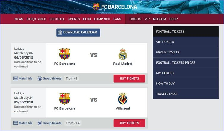 Comprando seu ingresso no site oficial do FC Barcelona