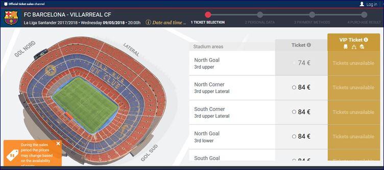 Comprando seu ingresso no site oficial do FC Barcelona (www.fcbarcelona.com)