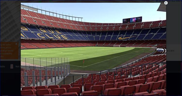 Visão do campo - Comprando seu ingresso no site oficial do FC Barcelona (www.fcbarcelona.com)