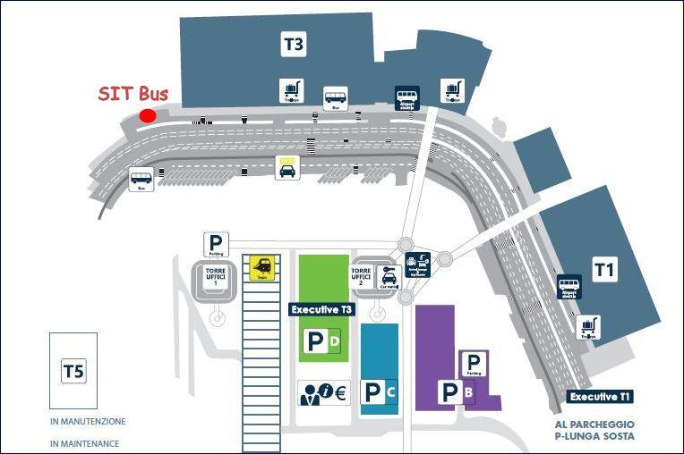 Mapa do Aeroporto Fiumicino (fonte: www.adr.it - adaptado)
