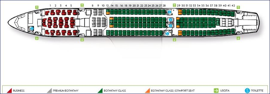 Mapa de assentos do Airbus A330-200 da Alitalia (fonte: alitalia.com)
