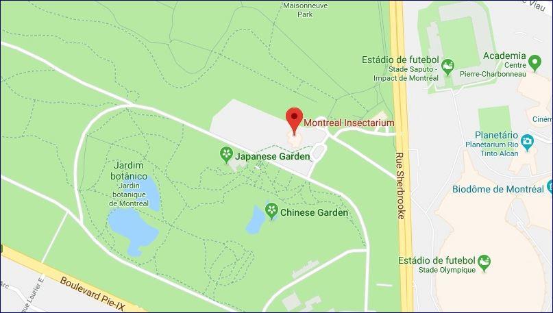 Localização Insectário e Jardim Botânico (fonte: Google Maps). Blog Viajar o Mundo.