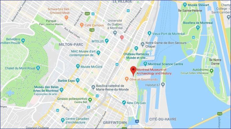 Localização do Museu de Pointe-à-Callière (fonte: Google Maps)