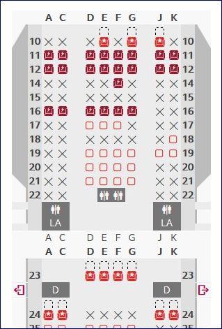 Mapa de assentos - Classe Econômica do A330 da Avianca Brasil. Blog Viajar o Mundo. Viajaromundo.com