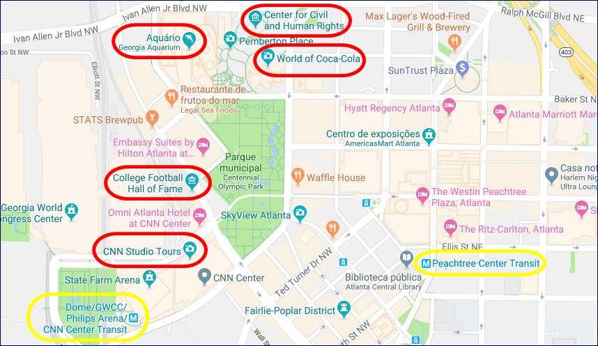 Localização das principais atrações do Atlanta CityPASS (fonte: Google Maps). Blog Viajar o Mundo