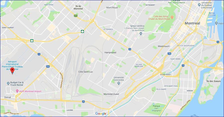 Localização do Aeroporto Internacional Pierre Elliott Trudeau (Fonte: Google Maps). Blog Viajar o Mundo