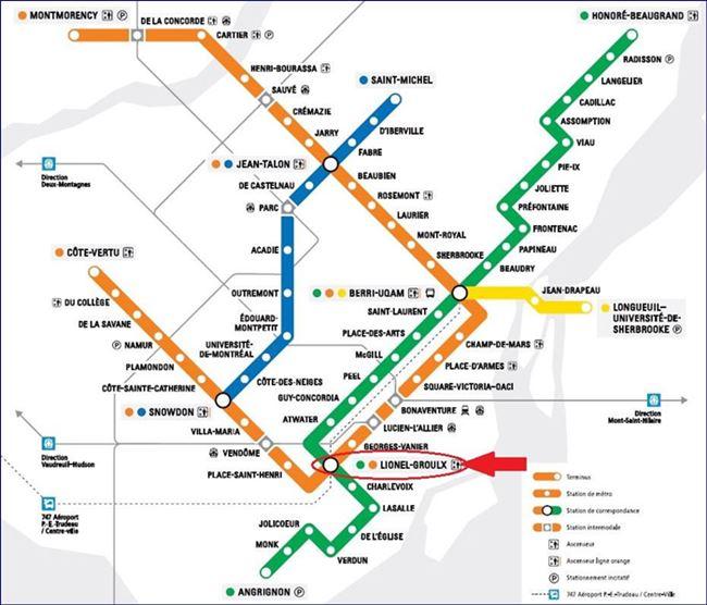 Mapa - Metrô de Montreal (fonte: stm.info). Blog Viajar o Mundo