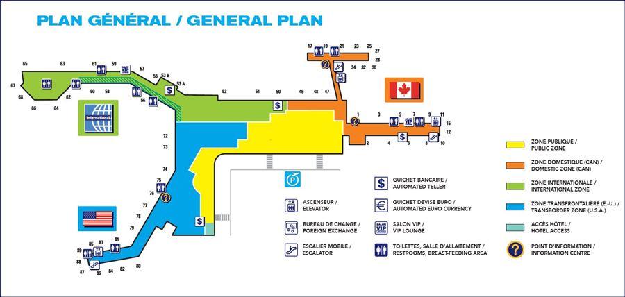 Mapa do Aeroporto International Pierre-Elliott-Trudeau (fonte: admtl.com). Blog Viajar o Mundo