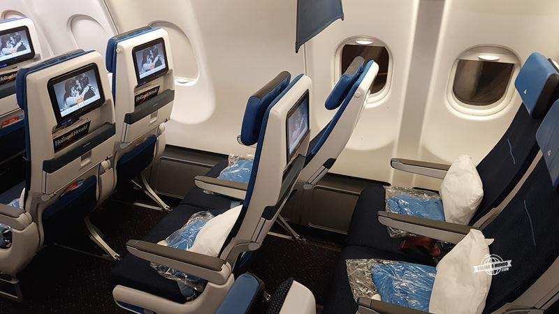 Reclinação assento Economy Comfort do A330 da KLM - Blog Viajar o Mundo