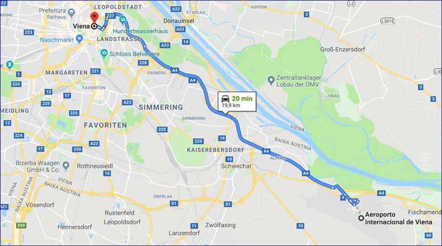Localização do Aeroporto Internacional de Viena (fonte: Google Maps)