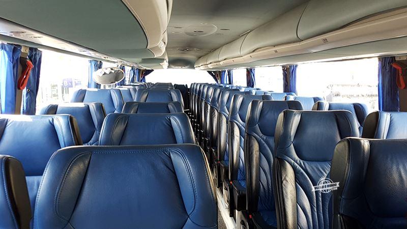 Interior do ônibus da Regiojet - Ônibus entre Viena e Bratislava. Blog Viajar o Mundo