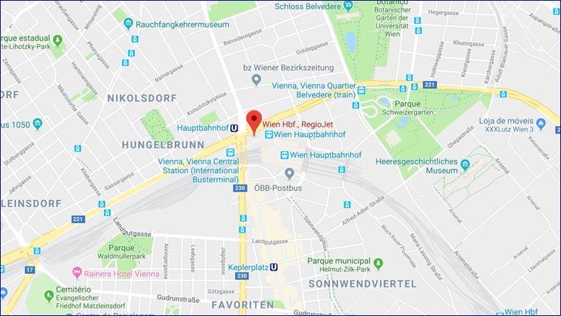 Vienna - Hbf Main train station (Südtiroler Platz). Fonte: Google Maps