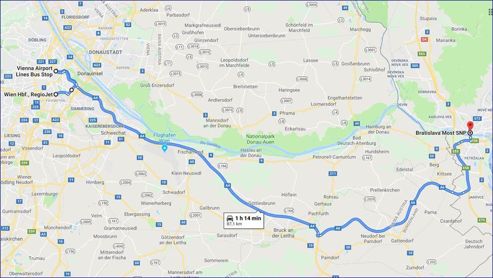 Rota Vienna - Bratislava (fonte: Google Maps)