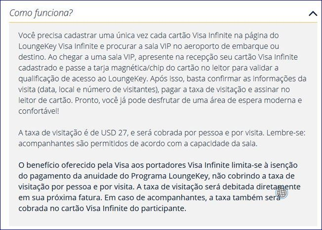 Regras do programa Visa Infinite LoungeKey (fonte: visa-infinite.com/br/lounge-key). Blog Viajar o Mundo
