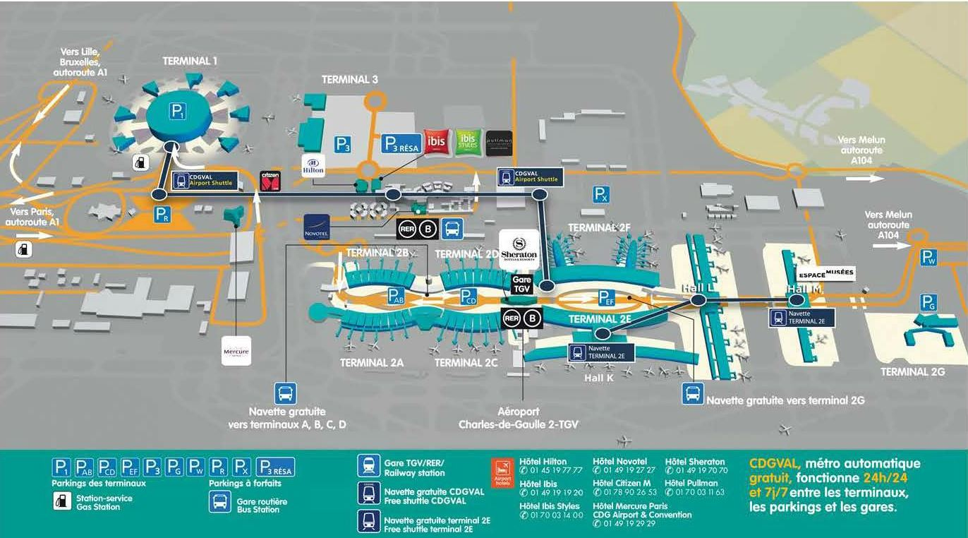 Mapa do Aeroporto Charles de Gaulle (fonte: parisaeroport.fr). Blgo Viajar o Mundo.
