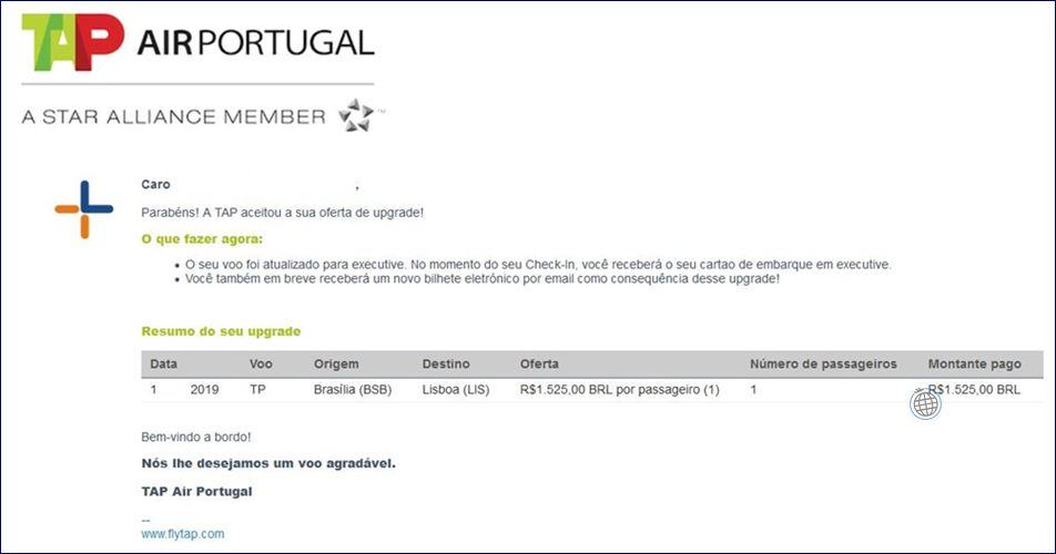 E-mail de confirmação do upgrade da TAP. Blog Viajar o Mundo.